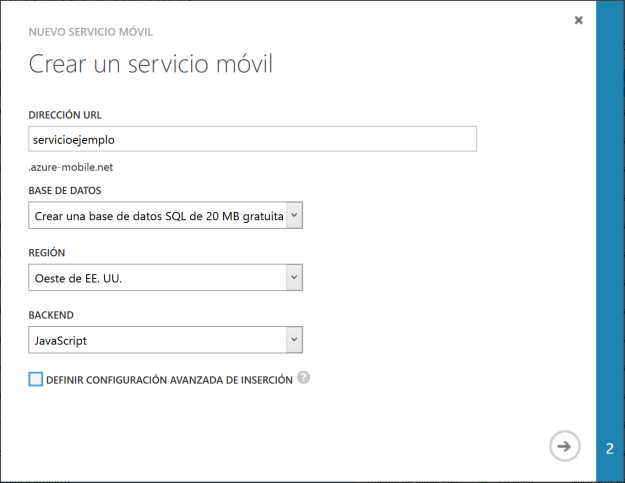 Crear Mobile Service